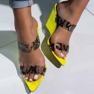 HP💃 Neon Snake Clear Band Wedge Heel Mule Sandals